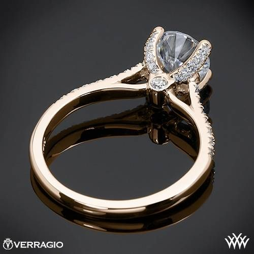 20k Rose Gold Verragio 4 Prong Petite Pave Diamond Engagement Ring