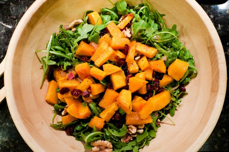 later. This roasted butternut squash salad with warm cider vinaigrette ...