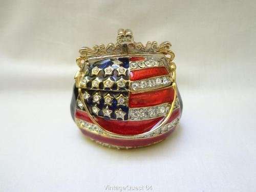 purses bags Vintage Patriotic Hand Bag Trinket Jewelry Box Enamel Rhinestone Magn