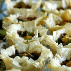 Phyllo Cups with Grilled Portobello Mushrooms.