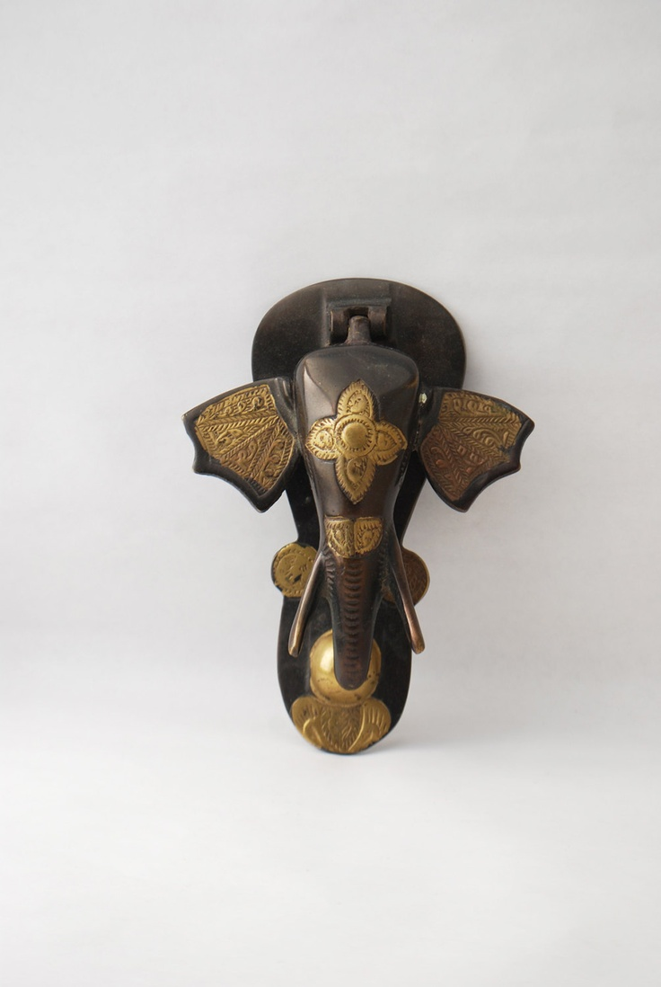 Reserved vintage elephant door knocker painted brass ethnic elepha - Brass elephant door knocker ...