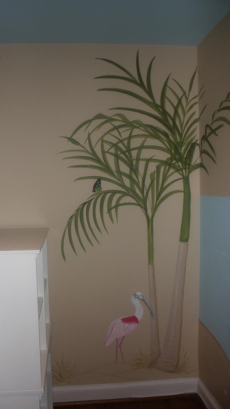 simplethingspainting.com  Girl's room painted by Karen Steele  Spoonbill. Palm tree. Florida Theme.