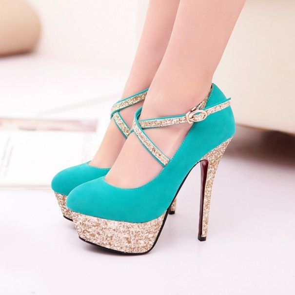 turquoise strappy high heel fashion