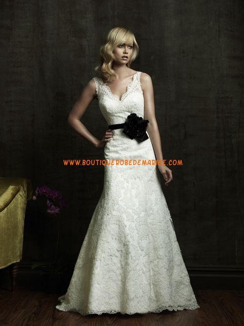 Robe de mariée dentelle col V ceinture  Robe de mariée dentelle ...