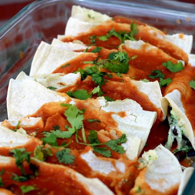 bean, cheese, and vegetable enchiladas   food   Pinterest