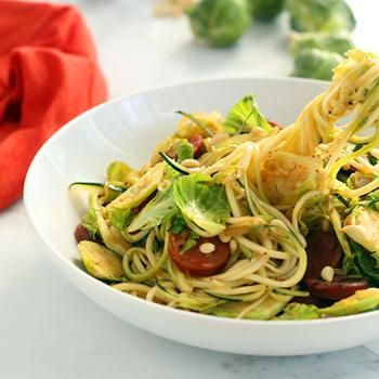 ... russel Sprout and Chorizo Zucchini Pasta with Toasted Pine Nuts Recipe