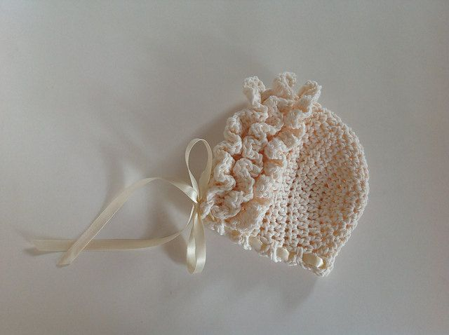 Crochet Baby Bonnet Pattern : Crochet Pattern for Ruffled Baby Bonnet Hat - 4 sizes ...