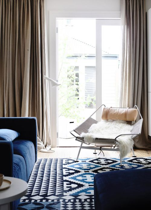 indigo + blue as an anchor to a sitting room
