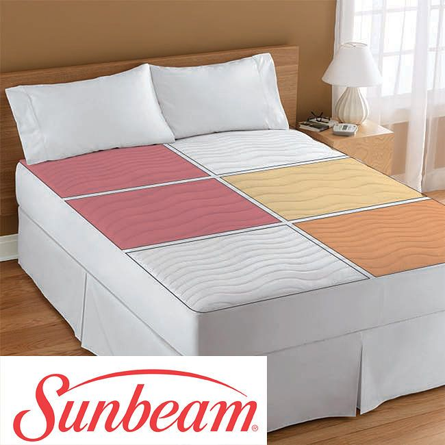 Dual Heated Mattress Pad Queen size Electric Heated Zone Mattress Pad Sunbeam Therapeutic Sleep ...