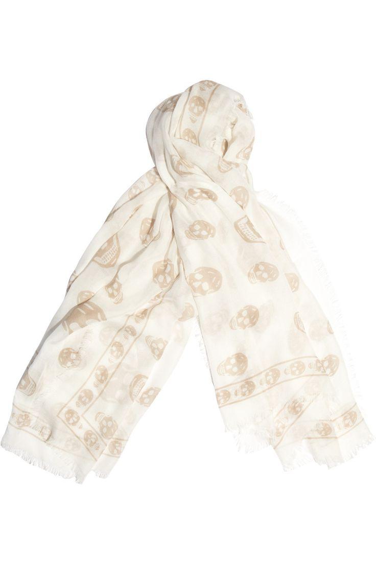 Alexander McQueen|Skull-print modal and cashmere-blend scarf #neutrals