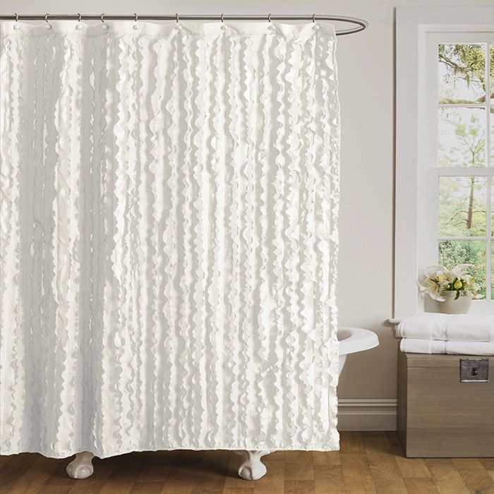 ruffled white shower curtain for the home pinterest