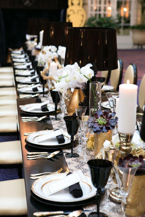 Black Gold White Table Setting Party Ideas Pinterest