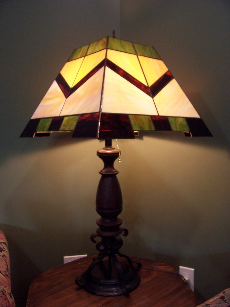 glass lamp shade on a recycled lamp base. Black Bedroom Furniture Sets. Home Design Ideas