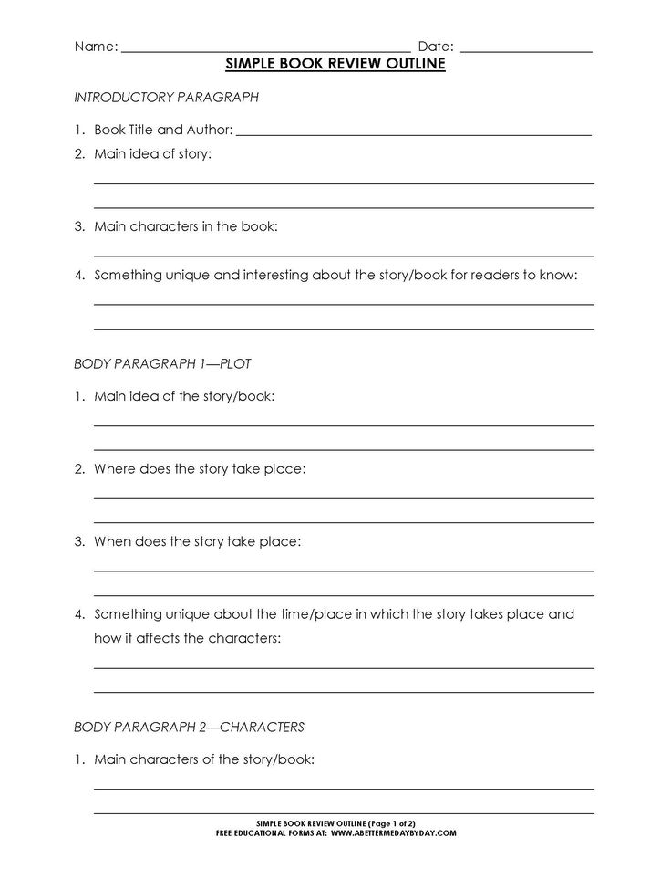 sample book review template