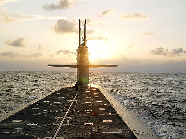 Missile submarine uss wyoming ssbn 742 approaches naval submarine