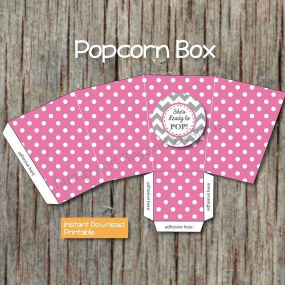 diy popcorn box printable baby shower supplies by bumpandbeyonddesigns
