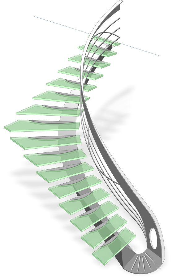 croquis escalier design harpe en verre escalier design. Black Bedroom Furniture Sets. Home Design Ideas