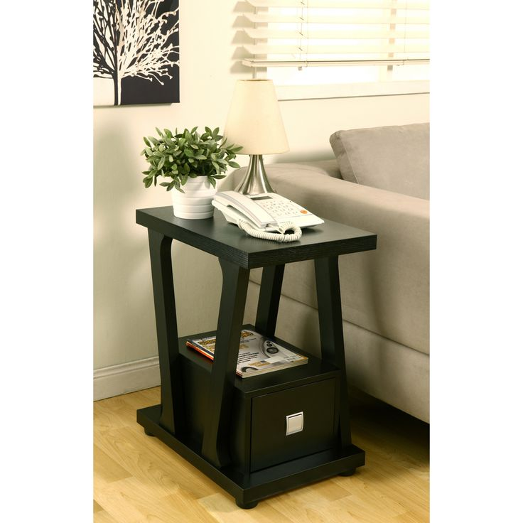 Furniture Of America Naudine 1 Drawer Black End Table