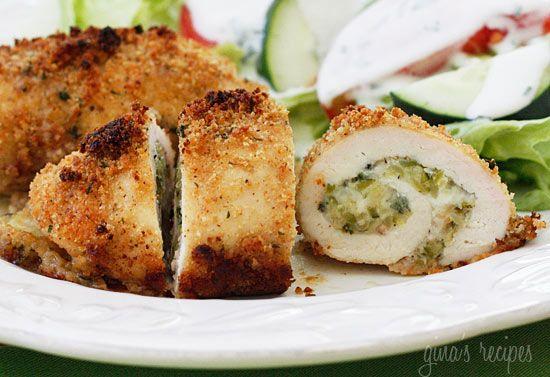 Skinny zucchini and mozzarella stuffed chicken