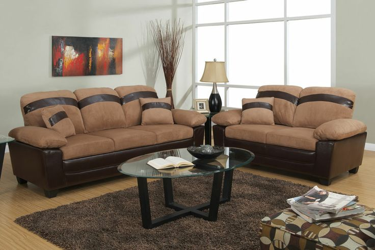 Microfiber Sofa Couch 2 Piece Living Room Set Sofa And Loveseat Furni