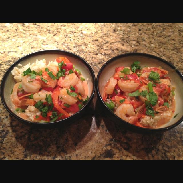 Garlic shrimp in coconut milk, tomatoes, and cilantro- recipe calls ...