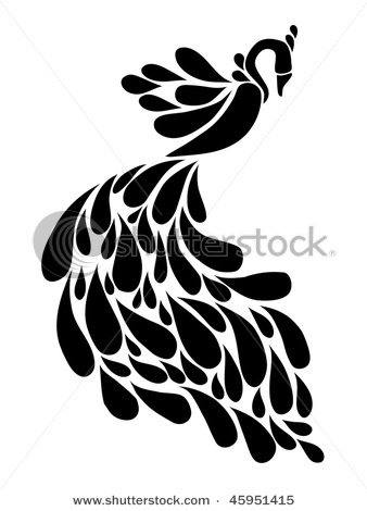 Peacock images black and white for Peacock tattoo black and white