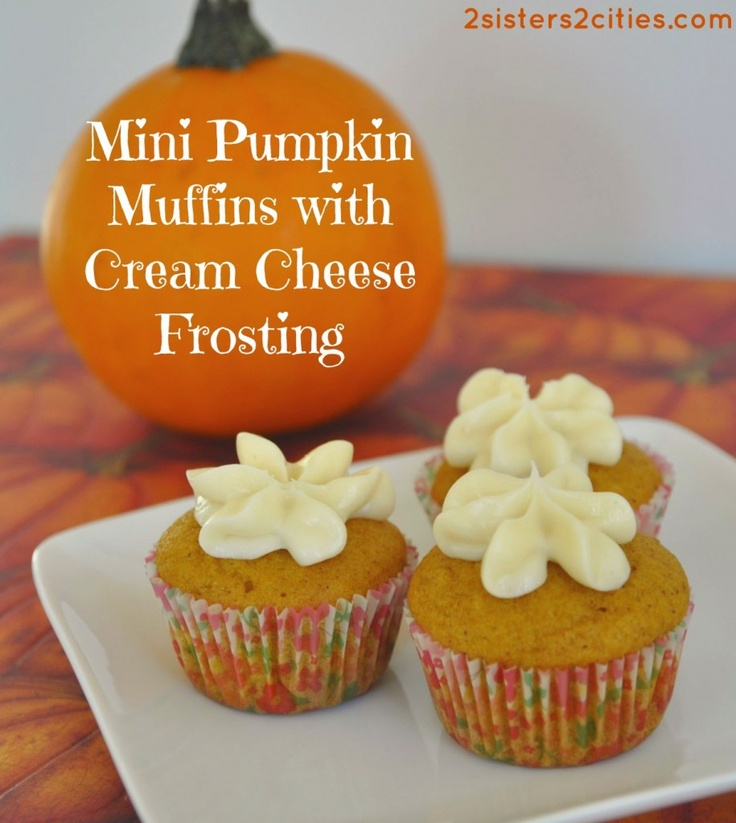 Mini Pumpkin Muffins with Cream Cheese Frosting | Recipe