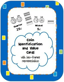 Here's a nice set of money cards that uses coin images, cents, and ten frames to help students learn coin values.