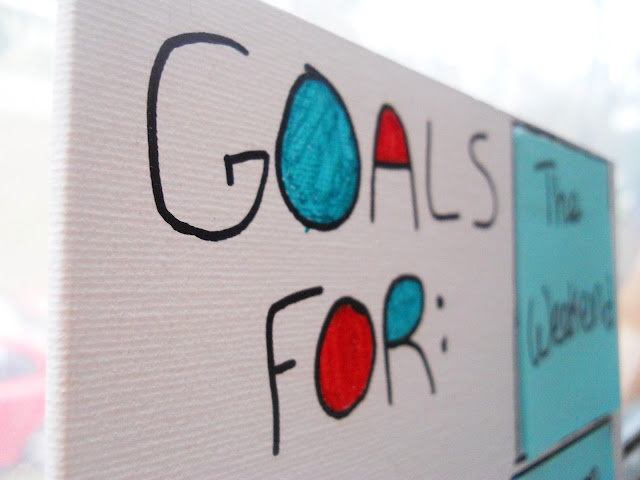 My DIY interchangeable goals list, idea via Cornflower Blue Studio