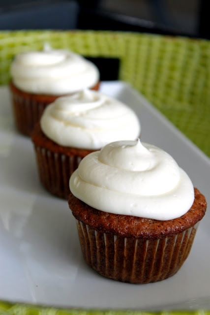 Carrot Cupcakes with White Chocolate Cream Cheese Frosting via ...