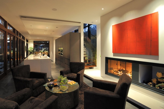 Seating around fireplace | Family room and basement ideas | Pinterest