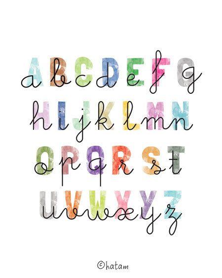 10 alphabet letters cursive font print d i g i t a l d e s i