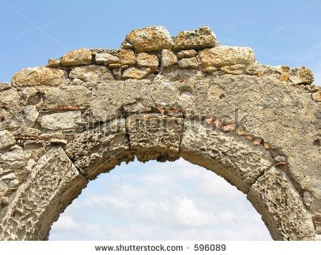 closeup of roman keystone in archway triumphant arches