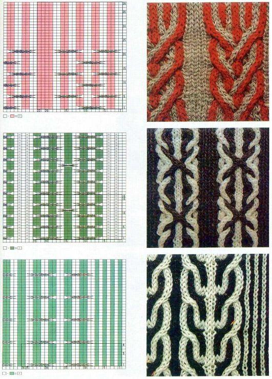 Вязание косы из двух цветов 27