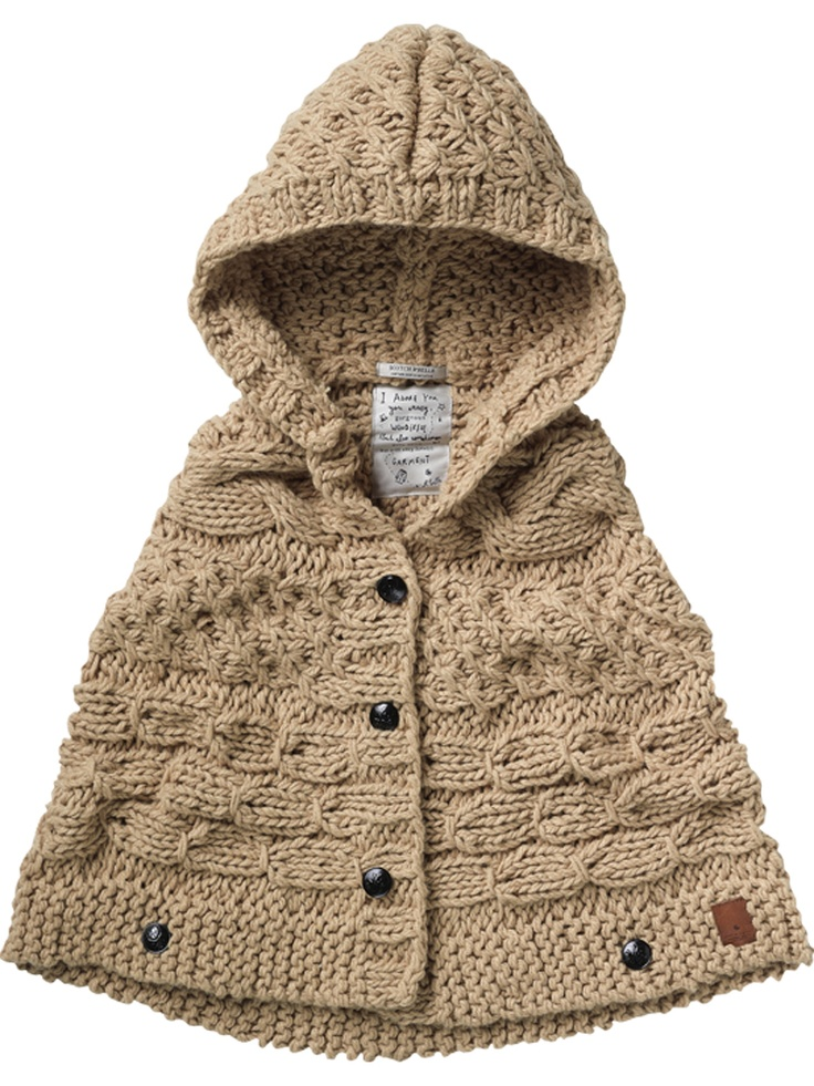 Chunky Knitted Hooded Poncho kid couture Pinterest