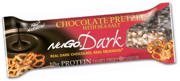 NuGo Dark Chocolate Pretzel with Sea Salt Protein Bar - The crisp combination of delicious Real Dark Chocolate and crunchy pretzels sprinkled with sea salt will please your senses. $19 for 1 box of 12 bars #GlutenFree #Vegan #Dairyfree #Kosher Parve