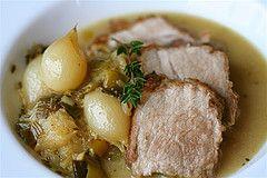 cider-braised pork with apple-onion-dijon sauce