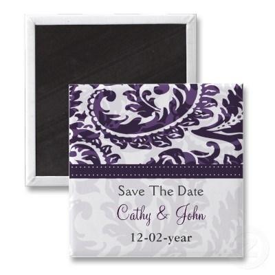 #savethedate #magnets #purple #wedding #damask