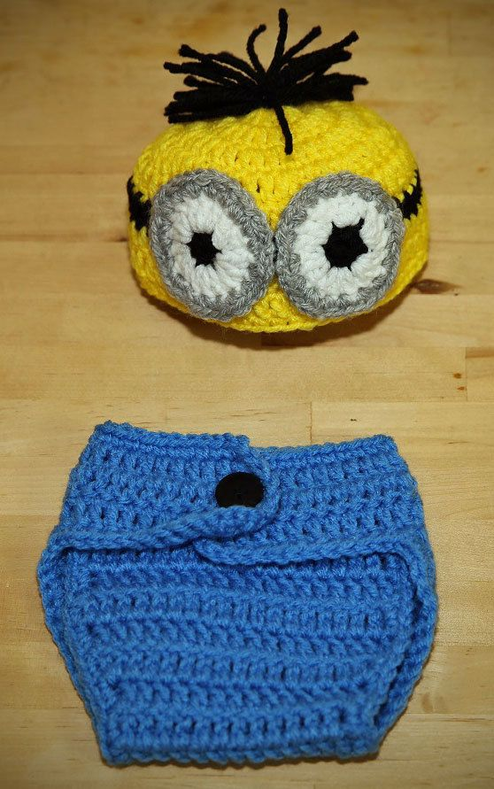 Crochet Baby Minion Hat Pattern : Minion (Despicable Me Movie) Hat and Diaper Cover - Baby ...