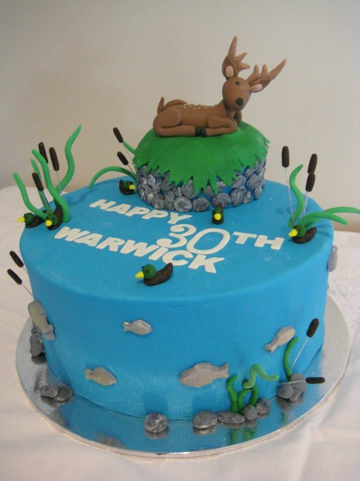Hunting and fishing cake ideas 28608 fish themed birthday for Fishing themed cakes