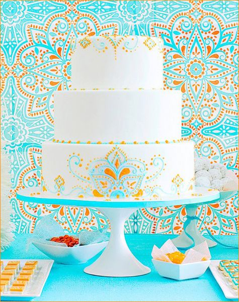 Moroccan inspired cake. Love the patterns!