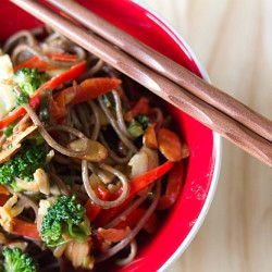 Soba Noodle Stir Fry with Spicy Almond Butter Sauce Recipe. Repin this ...