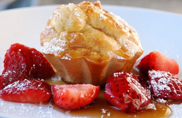Lemon Ricotta Soufflé Muffins with Strawberry-Maple Syrup