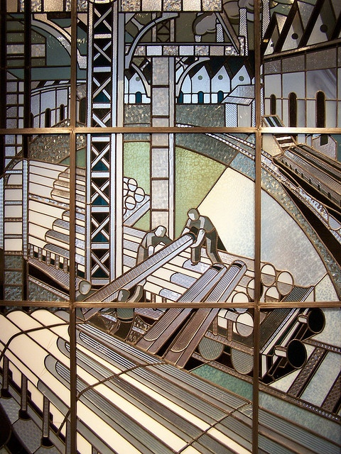 Art Deco Man Cave : Art deco stained industrial window man cave ideas