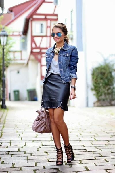 jean jacket leather skirt to wear