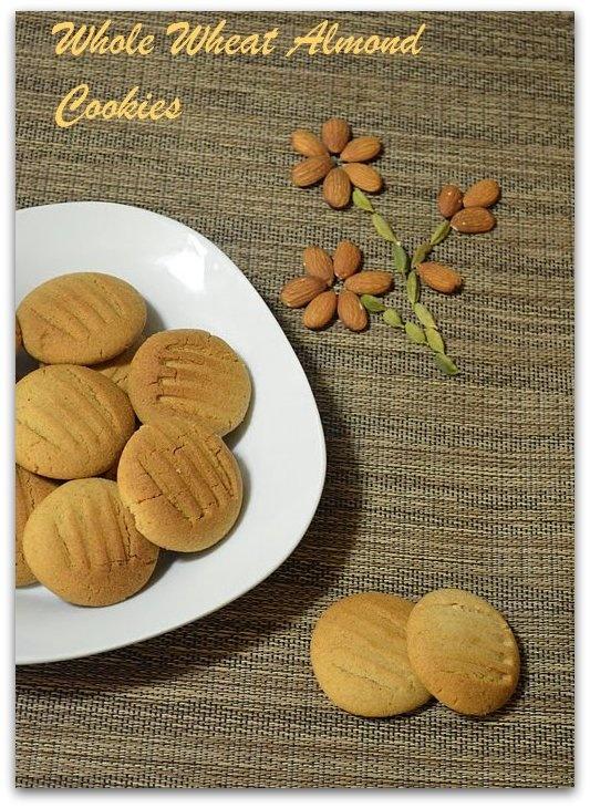 Whole Wheat Almond Cookies ~ Nalini's Kitchen