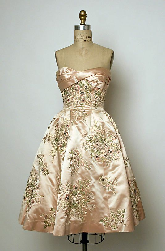 "Evening Dress, Pierre Balmain (French, 1914–1982) for the House of Balmain (French, founded 1945) for Bergdorf Goodman (American, founded 1899): fall/winter 1956-57, French, silk/beads. Marking: [label] ""Pierre Balmain/Paris; Bergdorf Goodman/New York/Newhouse, 10/16/56, (No.) Debby""    Designer:"