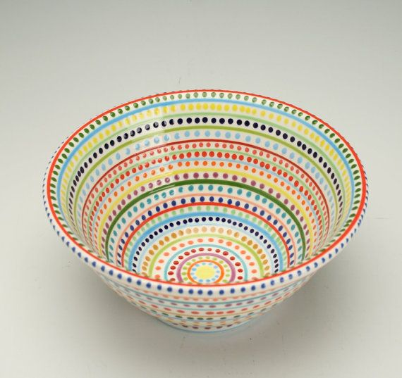 Serving Bowl Stripes and Dots Hand Painted by owlcreekceramics, $36.00