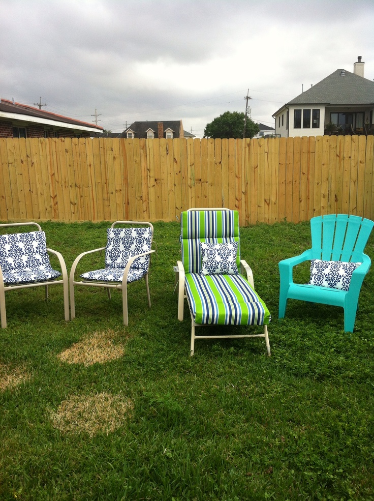 Recover old patio furniture cushions with spill proof table cloths I found m
