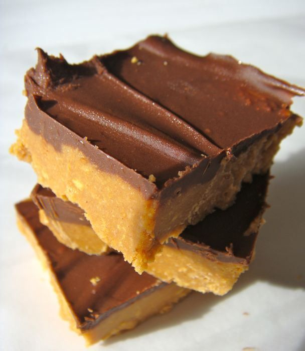 Peanut Butter & Chocolate Bars! OMG my elementary school had these for ...